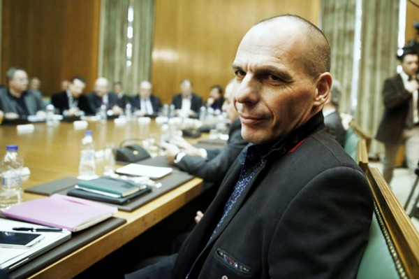 Finance Minister Varoufakis attends the first meeting of the new cabinet in the parliament building in Athens