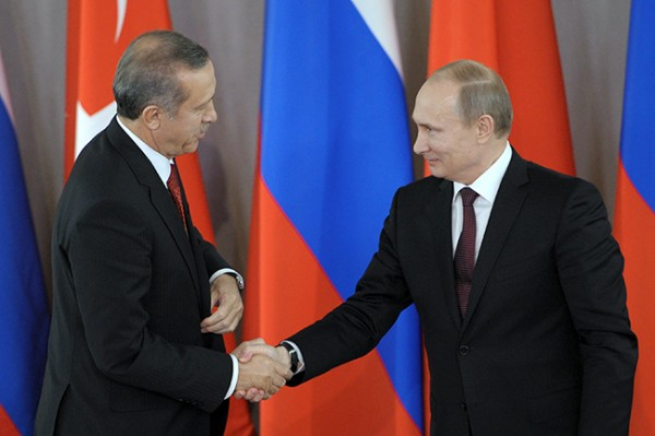 Russian President Putin shakes hands with Turkish Prime Minister Erdogan in Strelna near St. Petersburg